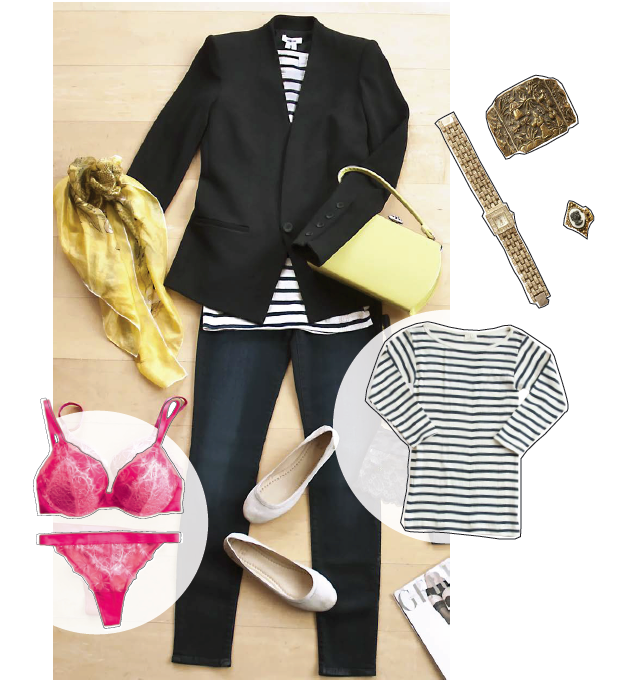 Outfit ensemble: Blazer, striped shirt, scarf, lingerie, ballet flats, watch, ring, and gold cuff.