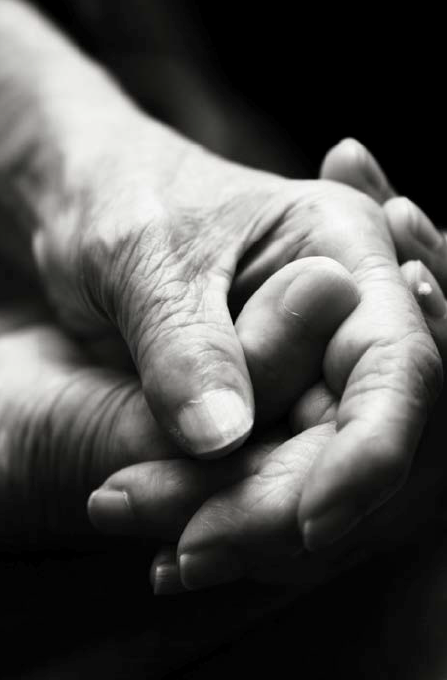 Consoling hands.