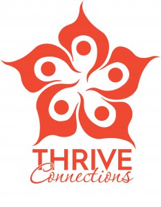 THRIVE connections Logo poppy (Vertical)