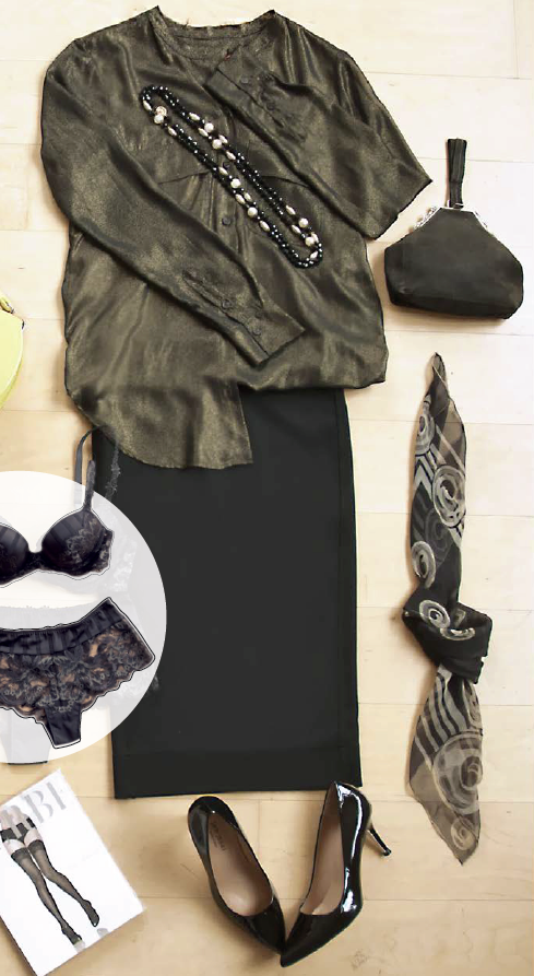 Clothes in simple silhouettes and neutral colors, bag and scarf accessories, lingerie, comfortable heels.