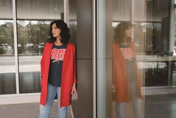 Rebel Tee by Chaser, $59; Twigs. Le High Straight Leg Jean, $229; Luceo. Ispirazione Coat in Rosso, $284; Twigs. Teardrop Pendant Necklace by Tania Rodamilans, $108; Neena.