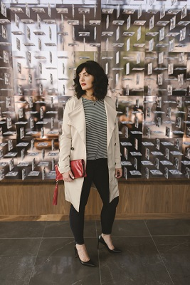 River Collar by Jenny Bird, $125; Talon Necklace by AV Max, $82; Twigs. Gather Sleeve Tee by Semi Gloss, $110; Dune Beige Trench by Goldie, $99;  Ali High Rise Cigarette Jean by Frame Denim; $214; Luceo. Raine Cardin Clutch by Hobo,  $168; Cornblooms.