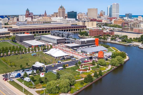 Aerial view of Menomonee River and Harley-Davidson Museum, Milwaukee