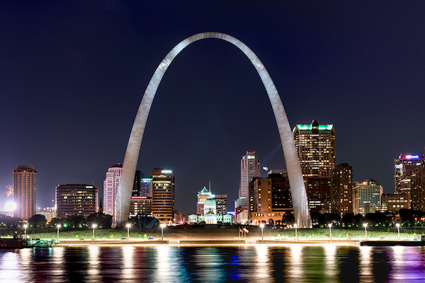 Waterfront view of The Gateway Arch, St. Louis, Missouri  Photo courtesy McElroy Fine Art Photography