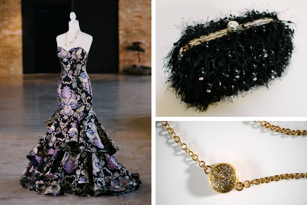 Left: Black and Purple Brocade Dress, $548; Premiere Couture. Top: Pearl Thread Evening Clutch, $76; Ciao Bella Boutique. Bottom: Silver Circle Necklace, $120; Change Boutique.