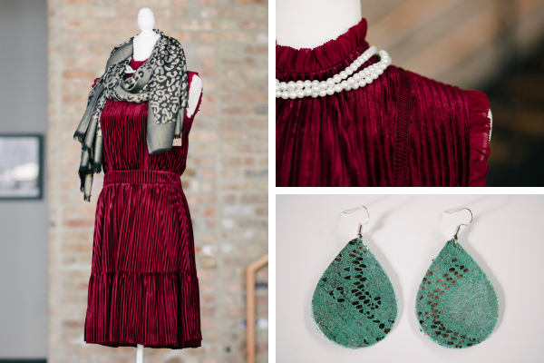 Left: Velvet Stripe Dress, $120; Cloth and Metal Boutique. Cheetah Scarf, $18; Suzen Sez. Top: Faux Pearl Necklace, $22; Suzen Sez. Bottom: Leather Earrings in Emerald, $19.95; Cosa Boutique.