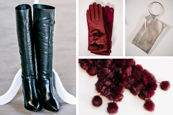 Left: Tall Boot in Black, $218; Change Boutique. Top, left to right: Red Plaid Glove, $18; Suzen Sez. Silver Wristlet, $88; Change Boutique. Bottom: Red Bobble Scarf, $28; Ciao Bella Boutique.