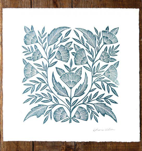 """Floral"" by Katherine Watson, block print, $26, Good Day Shop"
