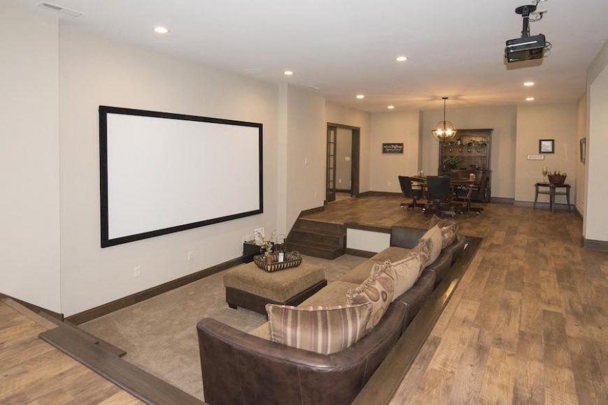 Entertainment suites in lower levels have been a popular choice with homeowners and can be completely customized during the build process.